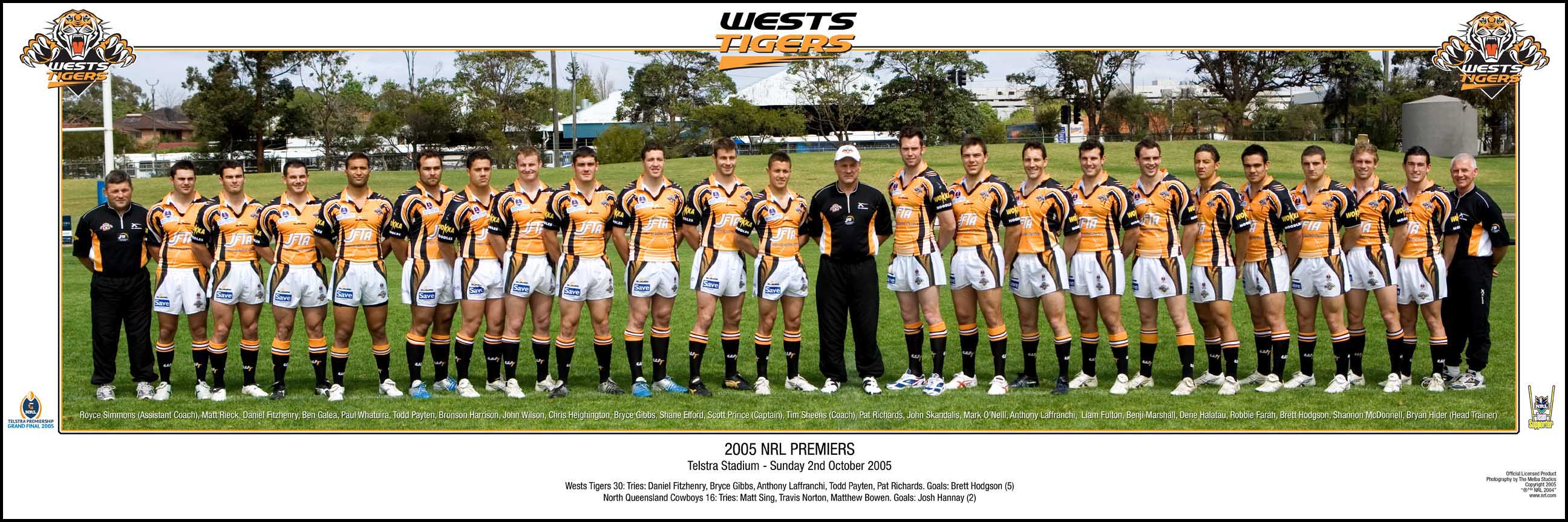 Wests Tigers 2005 Grand Final Team Panoramic