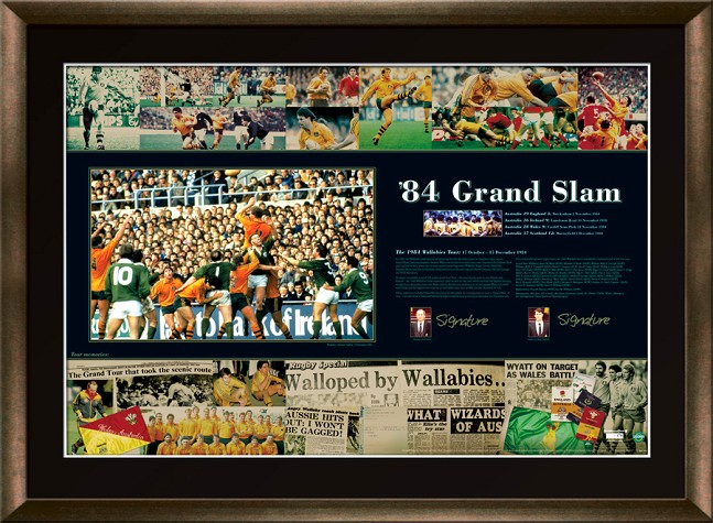 Rugby Union 84 Grand Slam-Slack and Jones signed and framed