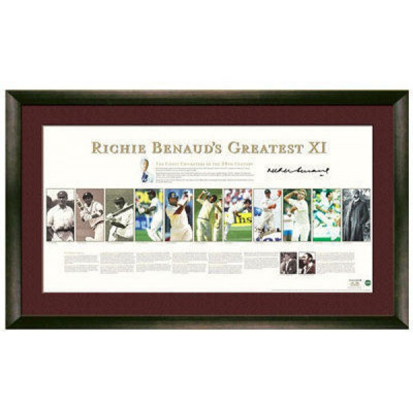 Cricket Richie Benaud's Greatest XI lithograph - Framed