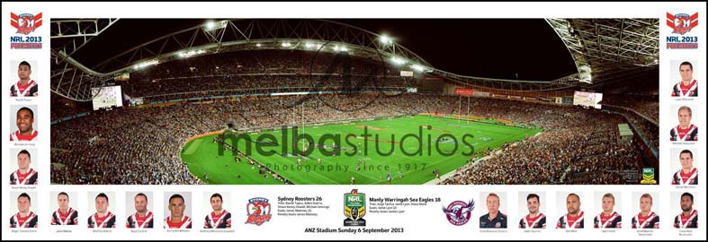Sydney City Roosters 2013 Roosters Grand Final Game Panoramic with headshots