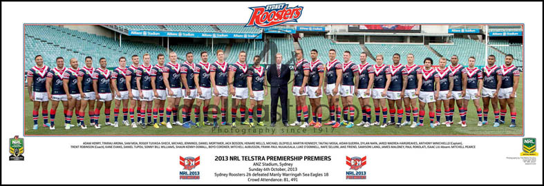 Sydney City Roosters 2013 Roosters Grand Final Team Panoramic